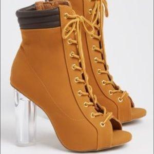 Shoes - Clear Heel Camel Peep Toe Booties